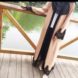 Sweaters - Open abaya with lace trim